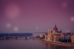 Budapest panorama at night Stock Image