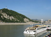 Budapest panorama with ship. The Danube river with the Gellert Hill and the Elisabeth Bridge in the background. This area is part of the UNESCO World Heritage stock image