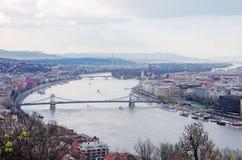 budapest panorama- sikt Arkivbilder