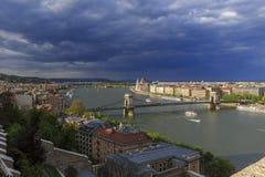 Budapest panorama Sikt från Buda Castle Arkivfoto