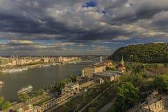 Budapest panorama Sikt från Buda Castle Fotografering för Bildbyråer