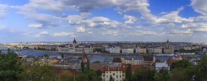 Budapest panorama Sikt från Buda Castle Arkivfoton