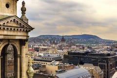 Budapest panorama Sikt från Sts Stephen basilika Fotografering för Bildbyråer