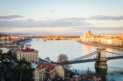 Budapest panorama at sunset. With Hungarian Parliament and Danube Royalty Free Stock Photo