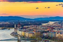 Budapest panoramautsikt från citadellen Royaltyfria Foton