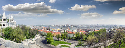 Budapest panoramic photo. Budapest Danube view. Panoramic photo taken from Buda. You can see Margarite Bridge and Chain Bridge, Parliament and Margarite Island Royalty Free Stock Image