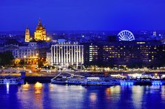 Budapest panoramic view at blue hour, Hungary, Europe Stock Photos