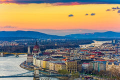 Budapest panoramic view from the Citadel. With bridges and the Parliament Royalty Free Stock Photos
