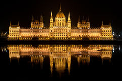 Budapest Parlament. Reflection of Budapest Parliament in Danube Royalty Free Stock Images