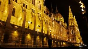 Budapest Parlament alla notte Immagini Stock Libere da Diritti