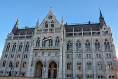 Budapest parlament i statua od strony obrazy stock