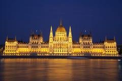 Budapest parlament noc Zdjęcie Royalty Free
