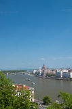 Budapest-Parlament und Donau Stockbilder