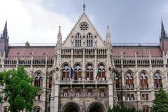 Budapest parlamentportik royaltyfria foton