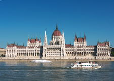 Budapest, Parliament. Hungarian Parliament with boats on the Danube river, Budapest, Hungary royalty free stock image