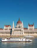 Budapest, Parliament. Hungarian Parliament with boats on the Danube river, Budapest, Hungary (vertical royalty free stock photo