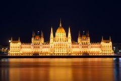 Budapest Parliament. At night with reflection in Danube river Royalty Free Stock Images