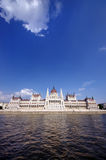 Budapest Parliament. Building, wide view from Danube river, Hungary Royalty Free Stock Images