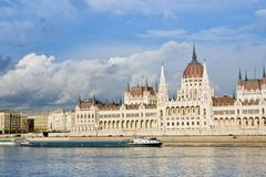 Budapest parliament. Building on the Danube river, Hungary Royalty Free Stock Image
