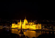 Budapest, Parliament Building. The famous Hungarian Parliament Building in Budapest, Hungary by night Royalty Free Stock Images