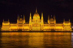 Budapest Parliament Building illuminated during evening, Hungary, Europe Royalty Free Stock Images