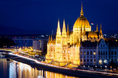 Budapest, Parliament building at night Royalty Free Stock Photos