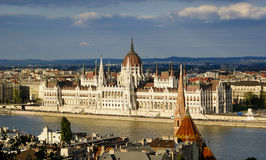 Budapest parliament. Building in sunset Royalty Free Stock Photos