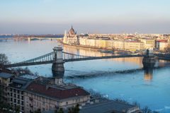 Budapest with Parliament, Chain Bridge and Margaret Island. In winter stock images