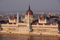 Budapest parliament. Close up of the neo-classical Hungarian parliament in Budapest during sunset hour Royalty Free Stock Images