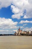 Budapest Parliament on Danube Royalty Free Stock Photography