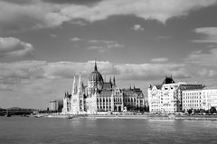 Budapest parliament and danube Stock Image