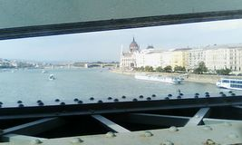 Budapest Parliament Danube River Boat From Bridge Stock Photo