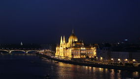Budapest Parliament and Danube river stock video footage