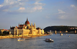 Budapest Parliament on Danube river Stock Image