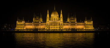 Budapest Parliament and Danube river in the night Stock Images