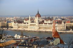 Budapest Parliament view from the Fisherman`s Bastion. stock photos