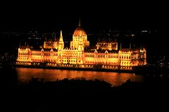 Budapest Parliament view from the Fishermen`s Bastion. stock photo