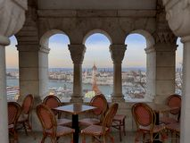 Budapest Parliament view from the Fisherman`s Bastion. royalty free stock photos