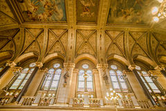 Budapest Parliament. Detail of the adorned golden walls and painted ceiling in the Parliament of Budapest, Hungary royalty free stock photos