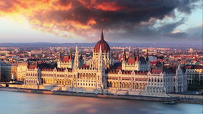 Budapest parliament at dramatic sunrise  Time lapse stock footage