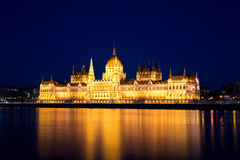 Budapest Parliament at Dusk, Hungary Royalty Free Stock Images