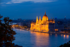 Budapest parliament in the evening Stock Image