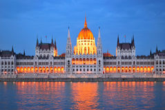 Budapest. Parliament House at twilight Stock Photography