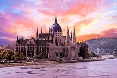 Budapest parliament in Hungary. At sunset Royalty Free Stock Photography