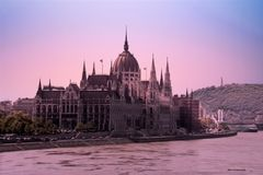 Budapest parliament in Hungary at sunset. Parliament building in Budapest in Hungary at sunset Royalty Free Stock Photography