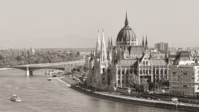 Budapest parliament (monochrome) Royalty Free Stock Photography