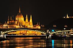 Budapest Parliament at night Stock Photography