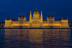 Budapest parliament night close-up Stock Photography