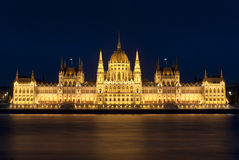 Budapest parliament at night, hungary Royalty Free Stock Image