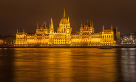The Budapest Parliament at night, Hungary Stock Photography